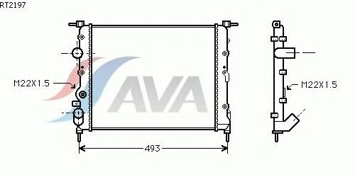 rt2197 rt2197 радиатор 430x349 -a/c renault